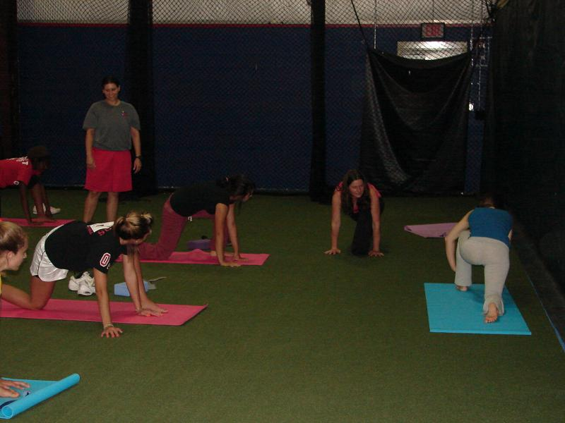 Rosabeth teaching Softball specific yoga session to Pitchafit clients in VA.