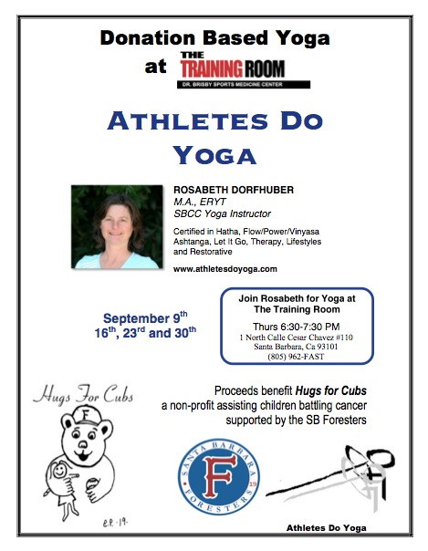 Yoga Hugs Donation Based Yoga classes Flyer @ The Training Room